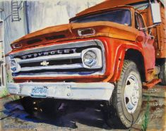 This old Chevy was at the grain mill in Glasgow, Missouri. At the time I took the photo for this watercolor I was working at Standard Havens as a welder making portable asphalt plants.