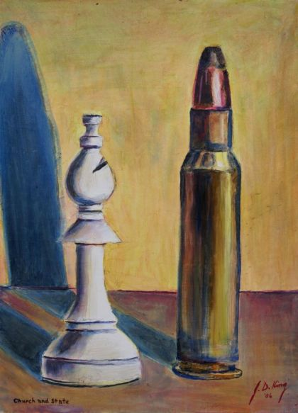 Bishop chess piece and .30 caliber bullet.