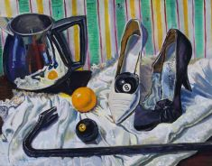 Coffee pot, high heeled shoes, some pool balls and a crow bar.