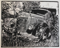 Wood Block Print of old International Dump Truck
