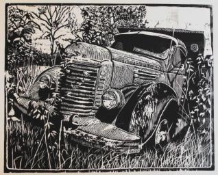 Wood Block Print of old International Dump Truck