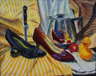 Collection of objects with similar attributes and reflection of artist in coffee pot.