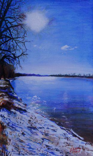 Looking East on the Missouri River at Stump Island, Glasgow Missouri.