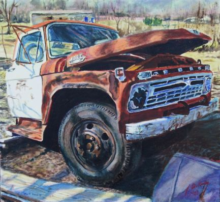 This is one of the first paintings of these old Workhorse trucks that I have done. This old Ford was up around Glasgow Missouri (or at least the front half was).
