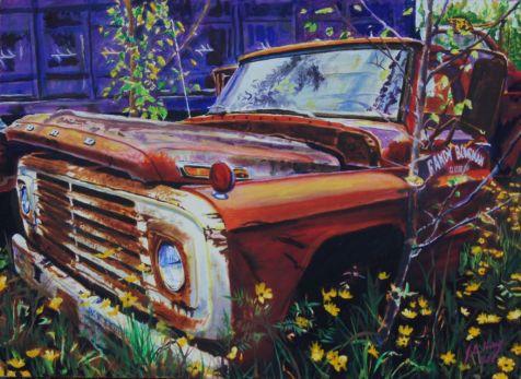 Early '60s Ford Farm Truck pushin' up daiseys.