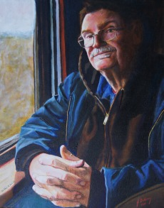 Self portrait from photo taken on the Arkansas and Missouri Railroad