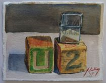 Two Wooden Blocks and Cigarette Lighter