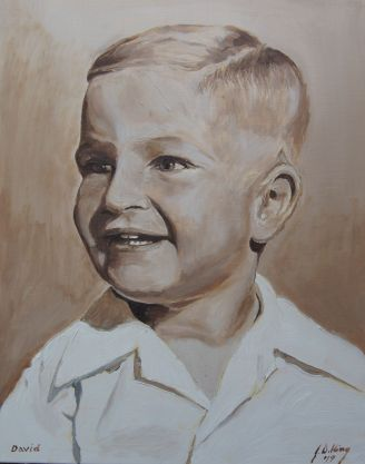 Self Portrait from photo taken when I was about 4 and 1/2.