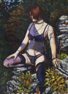 Our friend Jennifer posing on a cliff at Gans Creek.