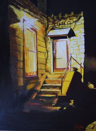 Doorway at night in old town St. Joseph, MO, 2004