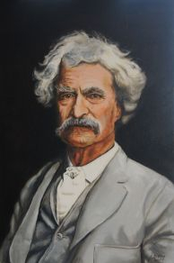 Commissioned oil painting of Mr. Samuel Clemens from famous black and white photograph.