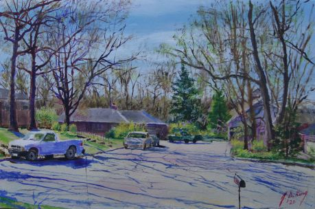 Painting of neighborhood viewed from my front porch, April, 2020