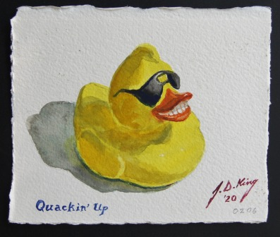 Smiling Rubber Duckie with sun glasses