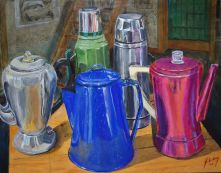 Still Life study of three old school coffee makers and a couple of thermoses.
