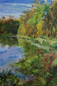 Plein-Air oil painting of Twin Lakes Recreation Area, Columbia, MO, Oct., 2020