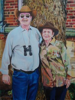 This is a portrait of Sally, my wife, and me when we used to live downtown in Columbia, MO. in the Frederick Building. It is also a homage to one of my heroes, Duane Hanson.